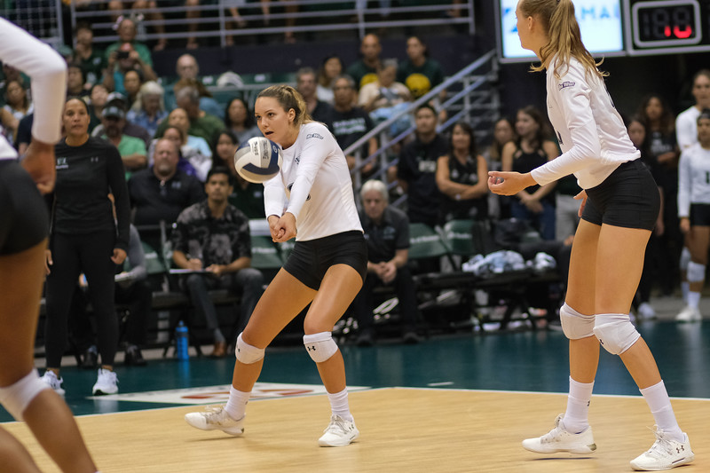 Hawaii's Riley Wagoner receives serve in the championship match against UCLA in the Outrigger Hotels and Resorts Volleyball Challenge at the Stan Sheriff Center, Honolulu, Hawaii on September 14, 2019.
