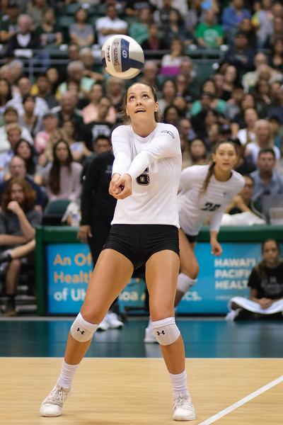 Hawaii hitter Riley Wagoner (6) takes the second ball as McKenna Ross (20) gets into her approach in the championship match against UCLA in the Outrigger Hotels and Resorts Volleyball Challenge at the Stan Sheriff Center, Honolulu, Hawaii on September 14, 2019.