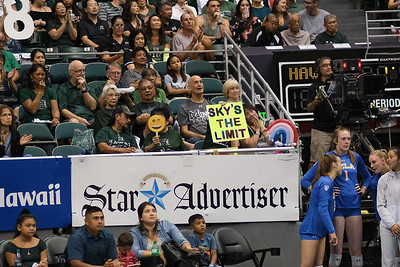 Hawaii fans watch the action in the championship match against UCLA in the Outrigger Hotels and Resorts Volleyball Challenge at the Stan Sheriff Center, Honolulu, Hawaii on September 14, 2019.