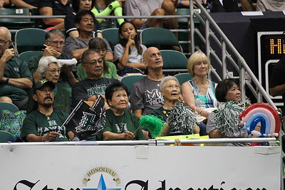 Hawaii's aunties watch the jumbotron during the championship match against UCLA in the Outrigger Hotels and Resorts Volleyball Challenge at the Stan Sheriff Center, Honolulu, Hawaii on September 14, 2019.