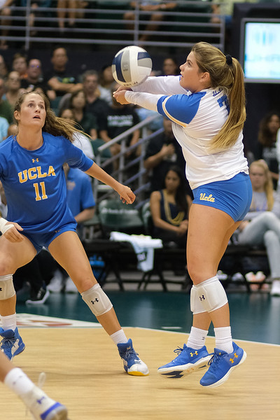 UCLA libero Kelli Barry reaches right to pass in the championship match against Hawaii in the Outrigger Hotels and Resorts Volleyball Challenge at the Stan Sheriff Center, Honolulu, Hawaii on September 14, 2019.