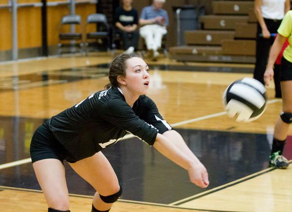 SAM HOUSEHOLDER | THE GOSHEN NEWS<br /> Northridge junior Reiley Schwartz hits the ball during the regional game against Goshen Thursday at Penn High School.