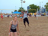Rose stands ready as Keith jump serve. 2005-7-23 VOLLEYWOOD Beach Bash 00020