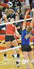 Catholic's Maddie Love gets ready to spike a ball against Wayne Monday night during Conference Volleyball in Norfolk. Norfolk Catholic ended up losing to Wayne in four sets.<br /> Photo by Aaron Beckman
