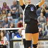 Lutheran High's Olivia Spence sets a ball Thursday night in Norfolk. The lady Eagles, lost to O'Neill St. Marys in 5 sets. <br /> Aaron Beckman / Correspondent