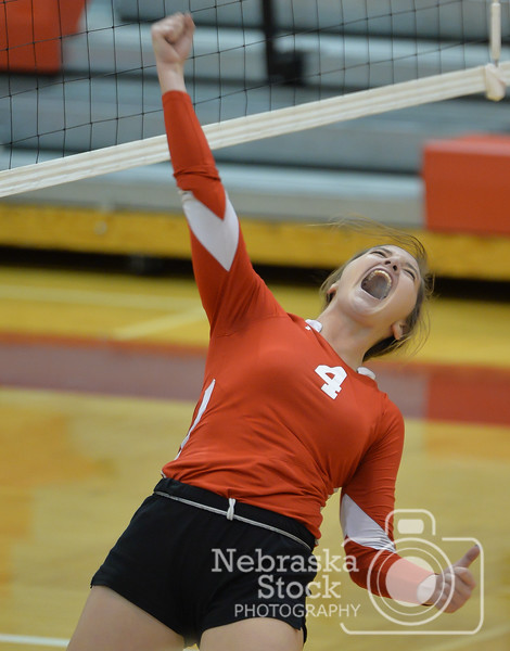 Hartington CC's Emily Feilmeier celebrates a point during the first set against Crofton Monday night in Norfolk during Conference Volleyball.<br /> Photo by Aaron Beckman
