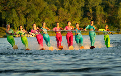A picturesque girls ballet line on water skis on Parkers Lake in Plymouth Wednesday, Aug. 11, 2010.  The performers are, left to right, Catherine Johnson, Logan Caldwell, Sara Bahnsen, Sammy Soltau, Tina Poore, Jenny Bushek, Annie Leschinsky, Heidi Smith and Dani Hennen