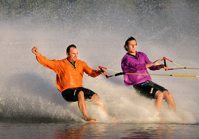 "Shockwaves stars Tim Fitzgibbons and Donny McGinty get some early barefooting action before their daring and crowd-pleasing, ""Beach Barefoot"" maneuver, leaving from the shore out into Parkers Lake without skis Wednesday, Aug 10, in Plymouth."