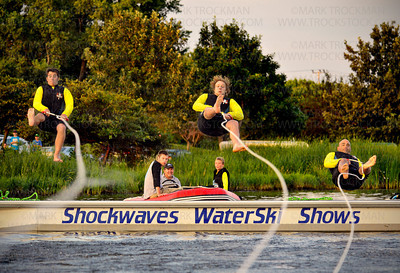 Shockwaves barefoot Flyers, left to right, Patrick Fitzgibbons, Tyler Pickney & Bruce Jensen, Wednesday, Aug. 08, at Parkers Lake Park.