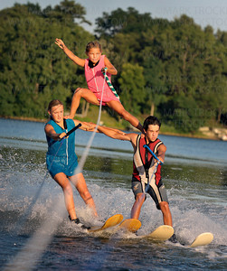 "The Shockwaves ""Kids Pyramid,"" in the Kids Pre-Show, left to right, Sara Thibault, 12, Ryan Fitzgibbons, 16, and on top, nine year old Shelby Hennen ply the warm waters of Parkers Lake Wednesday, Aug 10, in Plymouth."