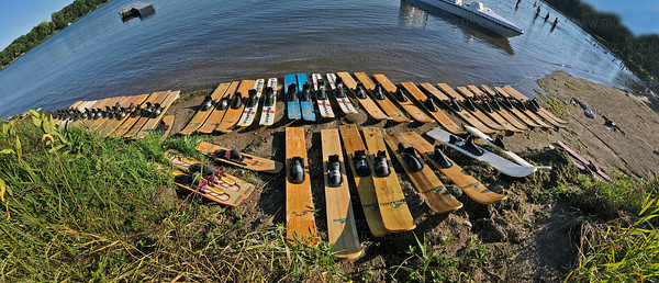 A bevy of water skis lie waiting on the beach at Parkers Lake to be used by the Shakopee-Prior Lake Water Ski Team in their performance Wednesday, Aug. 11, 2010, in Plymouth, Minn.