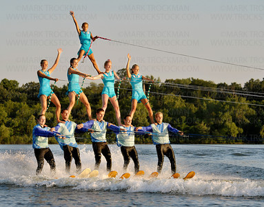 Shockwaves athletes perform a 5-4-1 Pyramid for the crowd at Parkers Lake Park Wednesday, Aug. 10, in Plymouth.  They are,  on top, Dani Hennen, middle tier, left to right, Elin Holmquist, Jenny Bushek, Maggie McGinty, and Sammy Soltau.  The bottom row, or Basers are, left to right, Tyler Pickney, Charlie Woodson, Shane Randahl, Mike Thibault, and PJ McGinty.