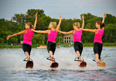 "Shockwaves backwards ""Swivel"" Act performed by, from the left, Kristina Smith, Erika Robinson, Sammy Soltau, and Jenny Bushek, Wednesday, Aug. 08, at Parkers Lake Park."