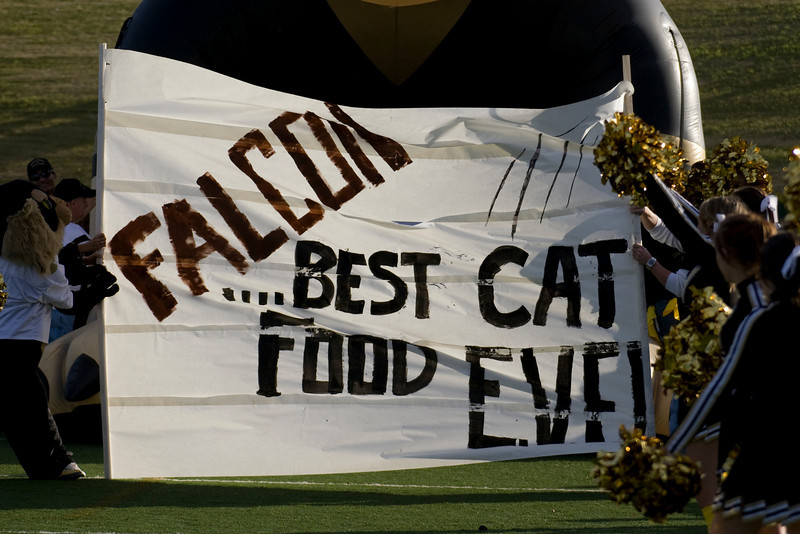 A Bearcats banner stands ready to be ripped apart.