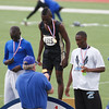 Jeylin Reed receives his gold medal for his performance in the 110m hurdles at the Region 1-4A track meet.