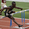 Jeylin Reed of Rider won the 110m hurdles at the Region 1-4A track meet with a time of 14.19.