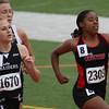 Danielle Randolph runs in the finals of the 800m run.  Randolph broke the 800m school record in the preliminaries on Friday.
