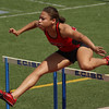 Rachel King competes in the 100m hurdles of the Region 1-4A track meet.  King finished 3rd in her heat with a time of 15.48.