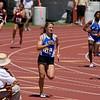 Amy Gastauer of La Vernia runs the lead leg of the 4X200m Division 1 relay.  La Vernia ran a 1:45.65 to qualify 4th.
