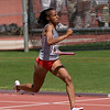 Laketria Wright from Converse Judson strains during the 4X200 Division 2 relay.  Judson qualified 7th in the event.