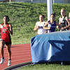Danielle Randolph leads the pack early in the 3200m run at the Region 1-4A track meet.