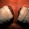 Bangkok, Thailand: Wrapped hands of kick boxer at Muay Thai (Thai Kick Boxing) training camp