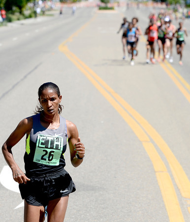 Ethiopia's Mamitu Daska extends her lead in the International Team Challenge during the 2012 Bolder Boulder in Boulder, Colorado May 28, 2012. CAMERA/MARK LEFFINGWELL