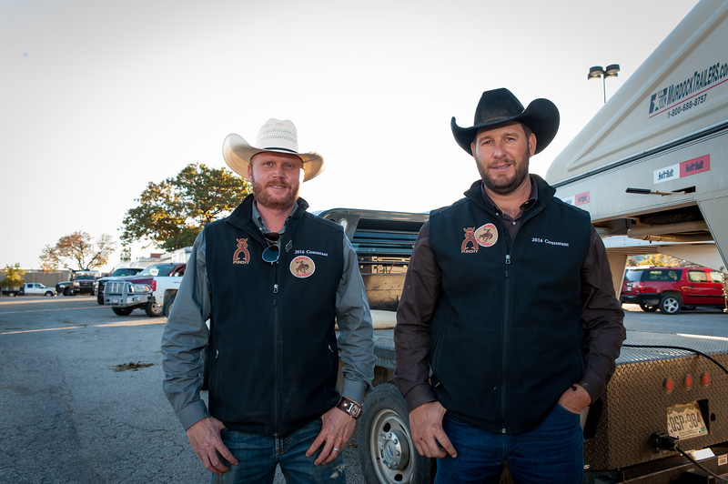 Shaie Williams for Working Ranch Magazine. Dustin Bowling and Kyle Spitz from the Jolly Ranch and S & L Cattle winners of the WRCA 21st World Championship Ranch Rodeo  held at Amarillo Civic Center  in Amarillo, TX  on November 13, 2016.