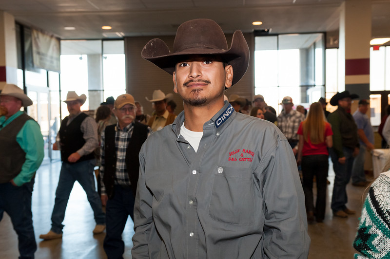 Shaie Williams for Working Ranch Magazine. Gilbert Cruz from the Jolly Ranch and S & L Cattle winners of the WRCA 21st World Championship Ranch Rodeo  held at Amarillo Civic Center  in Amarillo, TX  on November 13, 2016.