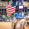 Shaie Williams for Working Ranch Magazine. Tyler Rice last years Top Hand from Sandhill Cattle Company carried the Stars and Stripes in every performance during the WRCA 21st World Championship Ranch Rodeo  held at Amarillo Civic Center  in Amarillo, TX  on November 13, 2016.