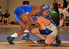 96 lb. Sal Trigonia, Baldwin, lost to Mark Raghunandan, Long Beach , 2nd round. <br /> Mark went on to win the overal l96 lb. Class. February 13th, 2010, Section VIII Wrestling Championships, Hofstra University. Photo by Kathy Leistner