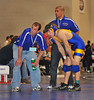 Rob Bianco, EMHS, w/coaches. 1st round vs Davae Grescek, Island Trees HS. <br /> Photo by Kathy Leistner