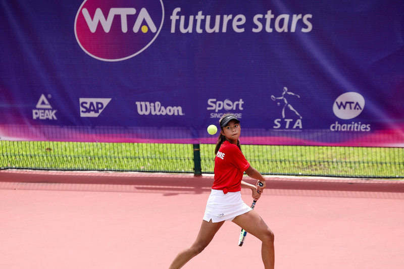 Micaela LAI (SIN)  in action during WTA Future Starts Tournament 2017, in U16 Round Robin held at Kallang Tennis Centre, Singapore. (Photo by Sanketa Anand, Sport Singapore)