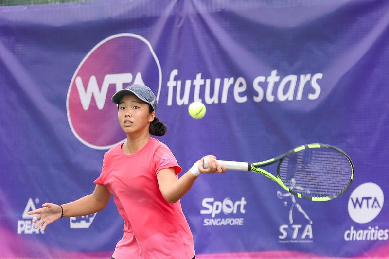 Ya-Hsin LEE (TPE) in action during WTA Future Starts Tournament 2017, in U16 Semi-Finals held at Kallang Tennis Centre, Singapore on 20th Oct 2017. (Photo by Sanketa Anand, Sport Singapore)