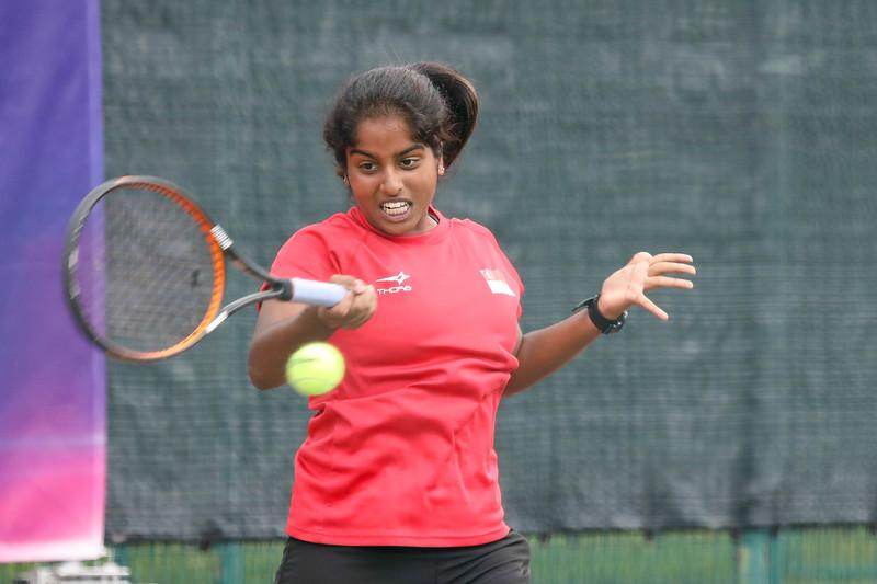 Singapore Trisha MULANI in action during WTA Future Starts Tournament 2017, in U14 Round Robin held at Kallang Tennis Centre, Singapore. (Photo by Sanketa Anand, Sport Singapore)