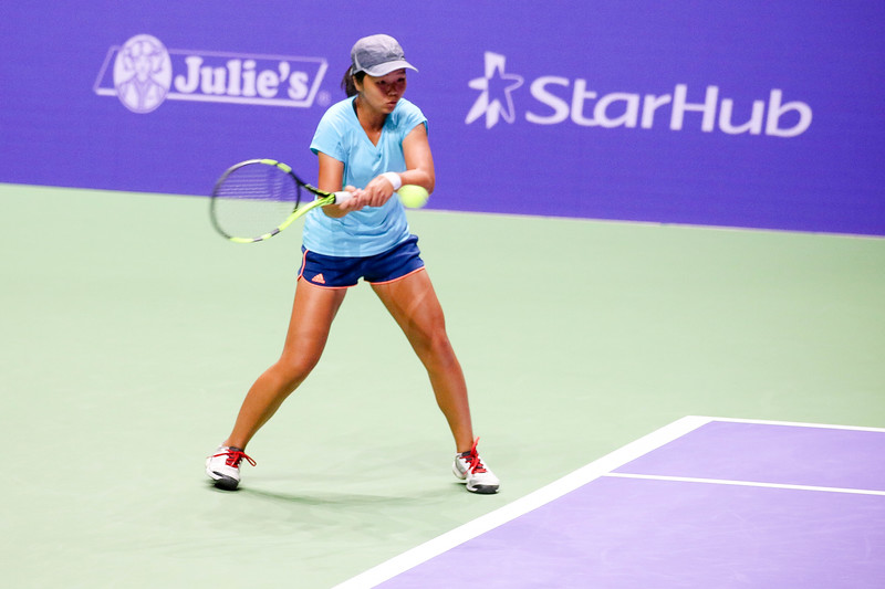 Ya-Hsin LEE (TPE)  in action at the WTA Future Stars U16 Final against Megan SMITH (AUS). Megan Smith won with the final score of 7-5, 1-6, 10-5. (Photo by Sanketa Anand/Sport Singapore)