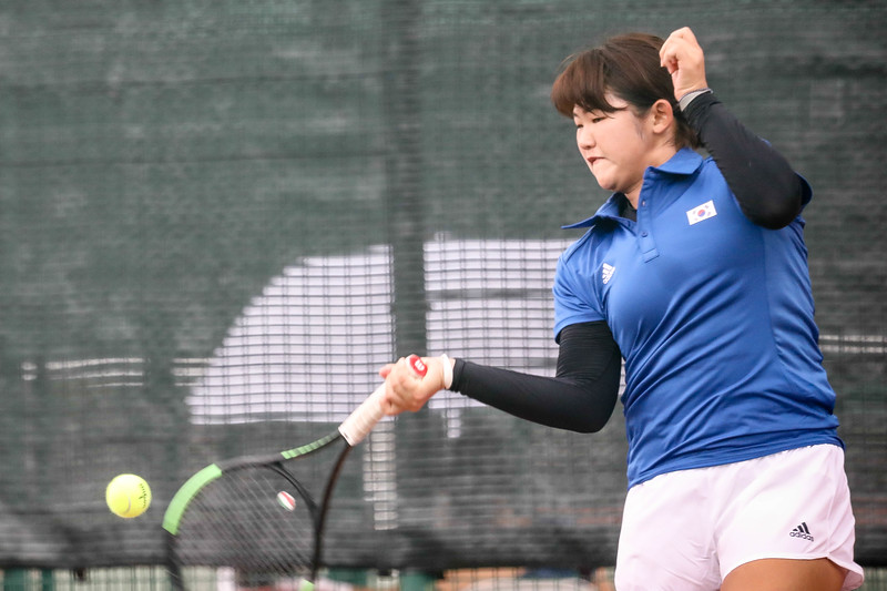 Korea Hee Rae IM in action during WTA Future Starts Tournament 2017, in U14 Round Robin held at Kallang Tennis Centre, Singapore. (Photo by Sanketa Anand, Sport Singapore)