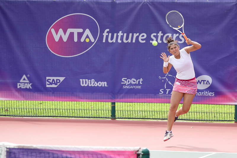 Yasmina KARIMJANOVA (UZB) in action during WTA Future Starts Tournament 2017, in U16 Semi-Finals held at Kallang Tennis Centre, Singapore on 20th Oct 2017. (Photo by Sanketa Anand, Sport Singapore)