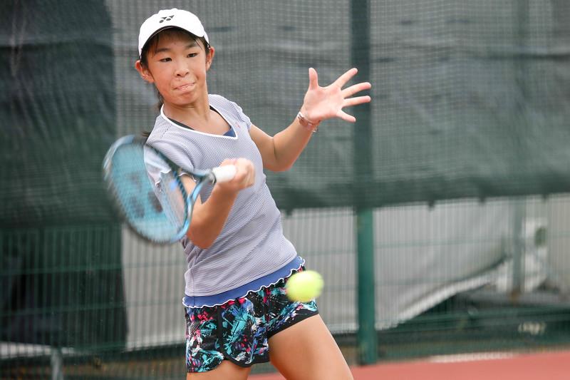 Kirara MORIOKA (JPN) in action during WTA Future Starts Tournament 2017, in U14 Round Robin held at Kallang Tennis Centre, Singapore. (Photo by Sanketa Anand, Sport Singapore)