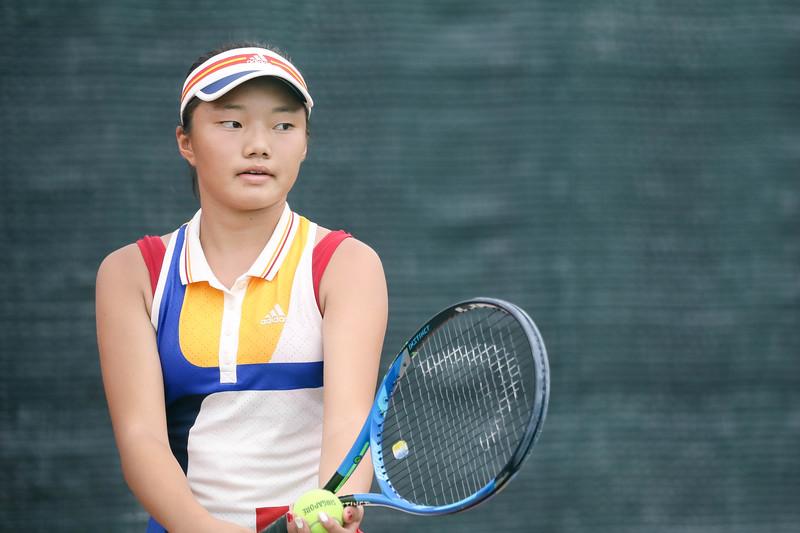 Japan AIMAMURA, SAKI in action during WTA Future Starts Tournament 2017, in U16 Round Robin held at Kallang Tennis Centre, Singapore. (Photo by Sanketa Anand, Sport Singapore)