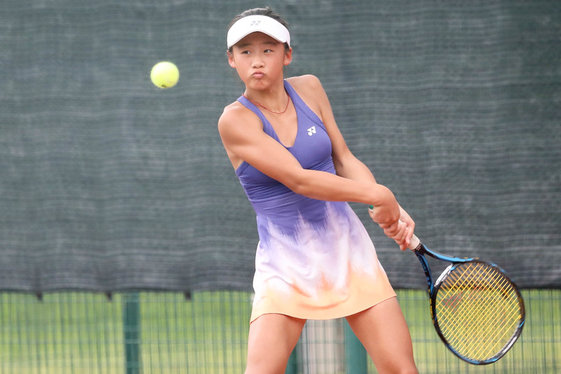 China Mengyi CHEN in action during WTA Future Starts Tournament 2017, in U14 Round Robin held at Kallang Tennis Centre, Singapore. (Photo by Sanketa Anand, Sport Singapore)