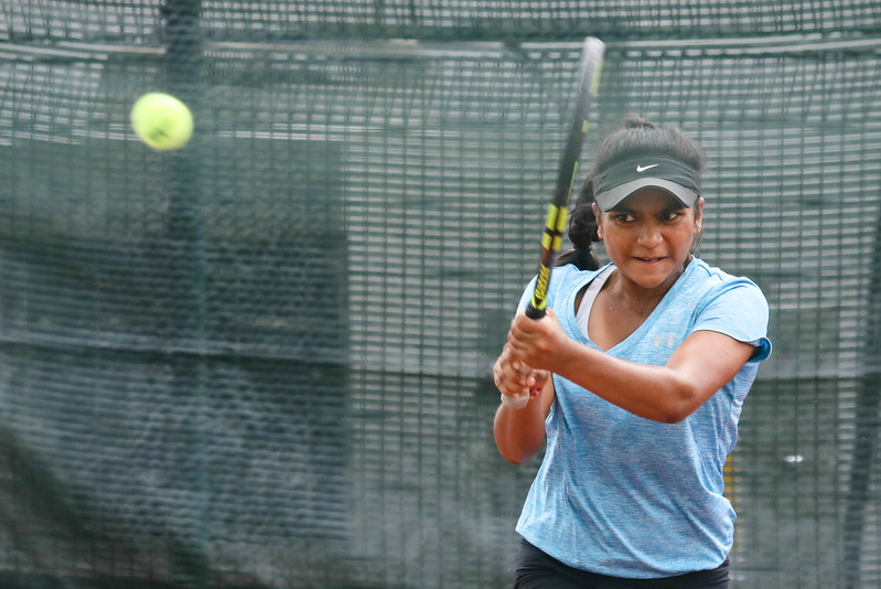 India Sarah DEV in action during WTA Future Starts Tournament 2017, in U14 Round Robin held at Kallang Tennis Centre, Singapore. (Photo by Sanketa Anand, Sport Singapore)