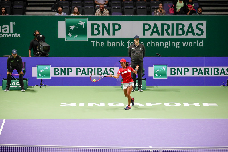 Priska NUGROHO (INA) in action at the WTA Future Stars 2017 U14 Finals against Pimrada JATTAVAPORNVANIT (THA), held at Kallang Tennis Centre, Singapore on 22th Oct 2017. (Photo by Sanketa Anand, Sport Singapore)
