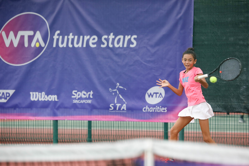 Laos Deliiah PATHUMMAKURONEN in action during WTA Future Starts Tournament 2017, in U14 Round Robin held at Kallang Tennis Centre, Singapore. (Photo by Sanketa Anand, Sport Singapore)