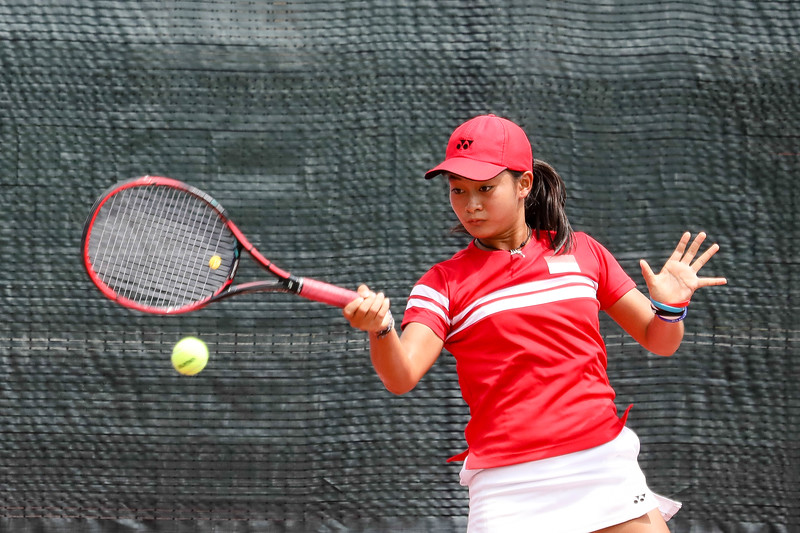 Priska NUGROHO (INA) in action during WTA Future Starts Tournament 2017, in U16 Semi-Finals held at Kallang Tennis Centre, Singapore on 20th Oct 2017. (Photo by Sanketa Anand, Sport Singapore)