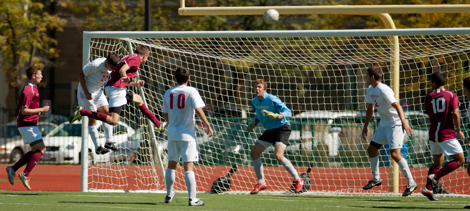 Washington University Men's Soccer vs. Carnegie Mellon University. Jonathon Jebson (0) in goal, Kenji Kobayashi (22), Pat McLean (10) & Brian Wright (2)