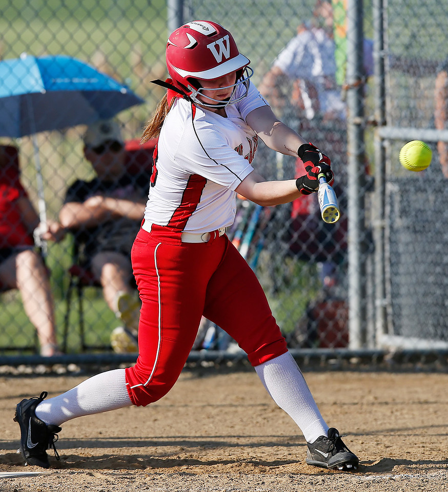 Wadsworth's Rynn Rench hits a game winning double against Highland in the eighth inning. (RON SCHWANE / GAZETTE)