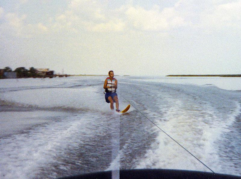 Ricky cutting on a slalom run