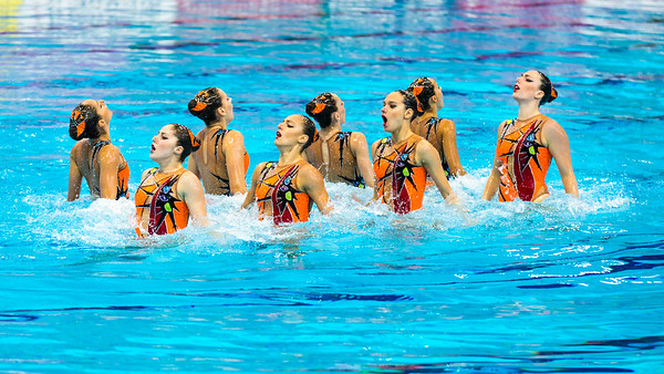 The synchro team from Greece perform in the Team Free Routine Synchronised Swimming Finals at the LEN European Aquatics Championships