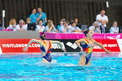 The Israeli team perform their routine. LEN Euroean Championships, London - Synch Team Finals.